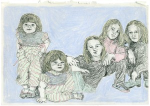 Business As Usual (Ashley, Mary-Kate, Taylor, Zac & Isaac) // pencil & colored pencil on paper, 2015