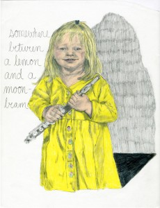 Lemon Girl // pencil, prismacolor & gloss varnish on vellum, 2016