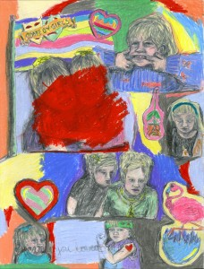 COMEDY GIRLS // pencil, colored pencil & wax crayon on paper, 2015