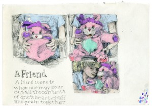 A Friend // pencil, colored pencil, gloss varnish on paper, 2015
