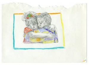 Hug Drawing // pencil, colored pencil, gloss varnish on paper, 2015