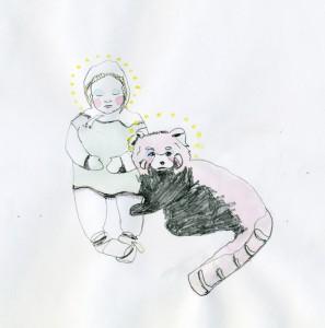 Panda Hug // watercolor and pencil on paper, 2012
