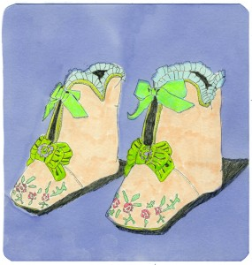 Baby Boots // graphite, marker & colored pencil on paper, 2013
