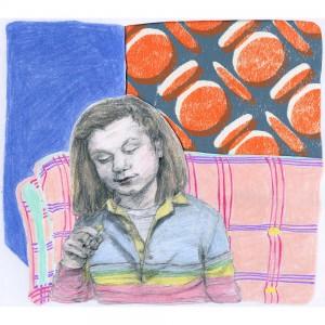 Darlene for Jeremy Jams' wallpaper postcard project // colored pencil on paper & Jams screenprint postcard, 2015