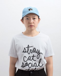 illustration & design for Stray Cat Social Club // hat & text script design, 2018