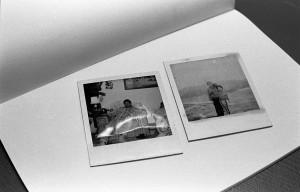 polaroids on sketchbook, 35mm photograph